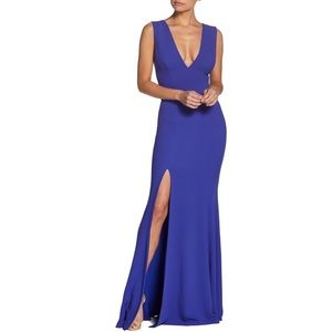 NEW! Dress the Population Sandra Plunge Crepe Gown